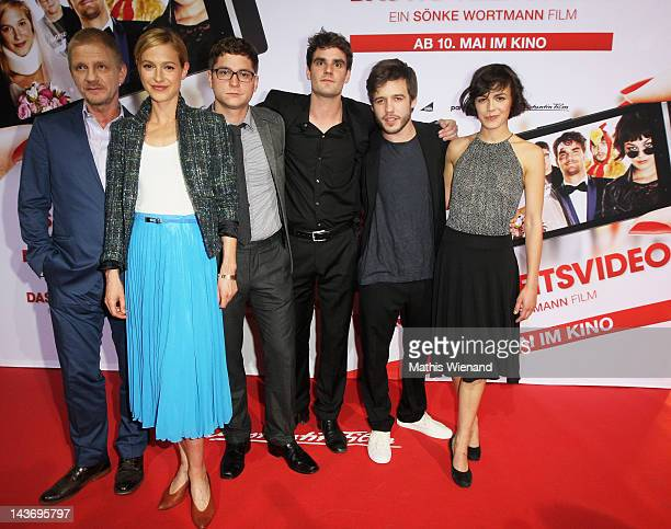 Soenke Wortmann, Lisa Bitter, Stefan Ruppe, Marian Kindermann, Martin Aselmann and Lucie Heinze attend the 'Das Hochzeitsvideo' World Premiere at...