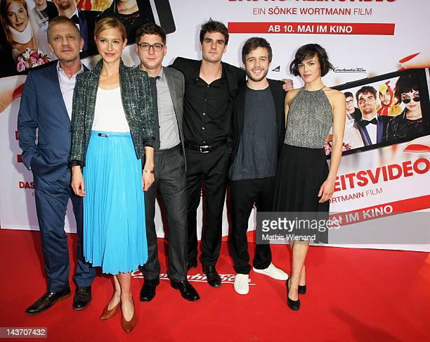 Soenke Wortmann Lisa Bitter Stefan Ruppe Marian Kindermann Martin Aselmann and Lucie Heinze attends the 'Das Hochzeitsvideo' World Premiere at...