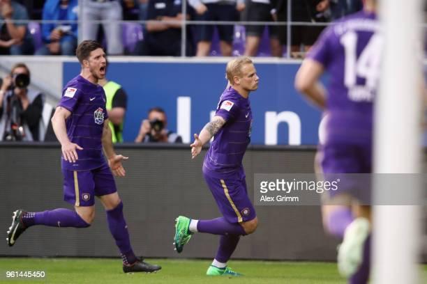 Soeren Bertram of Aue celebrates his team's second goal during the 2 Bundesliga Playoff Leg 2 match between Erzgebirge Aue and Karlsruher SC at...