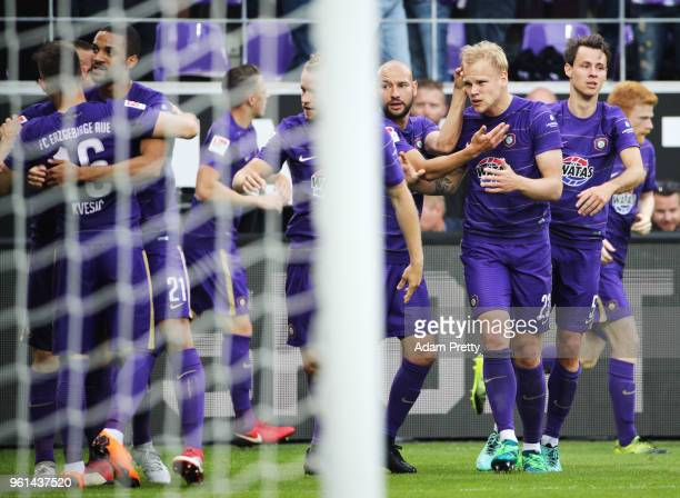 Soeren Bertram of FC Erzgebirge Aue celebrates after scoring the first goal during the relegation 2018 2 Bundesliga Playoff Leg 2 match between...
