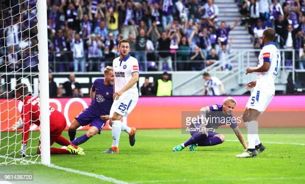 Soeren Bertram of FC Erzgebirge Aue scores the first goal during the relegation 2018 2 Bundesliga Playoff Leg 2 match between Erzgebirge Aue and...