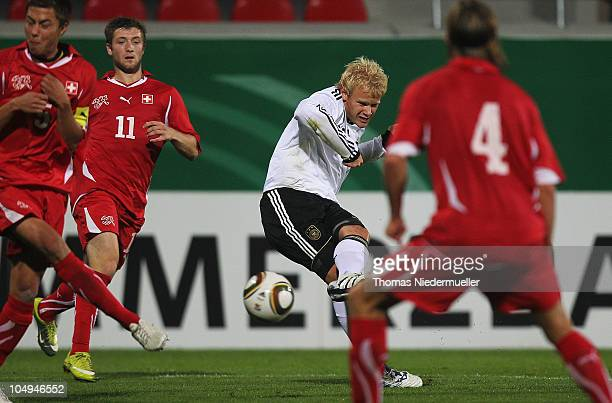 Soeren Bertram of Germany scores during the men's U20 International friendly match between Germany and Switzerland at the GAGFAH Arena on October 7...