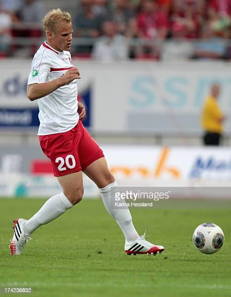 Soeren Bertram of Halle during the 3rd Liga match between Hallescher FC and RB Leipzig at Erdgas Sportpark on July 19 2013 in Halle/Germany