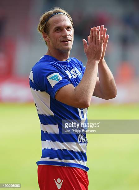 Soeren Brandy of 1FC Union Berlin applauds during the game between Union Berlin and MSV Duisburg on september 26 2015 in Berlin Germany