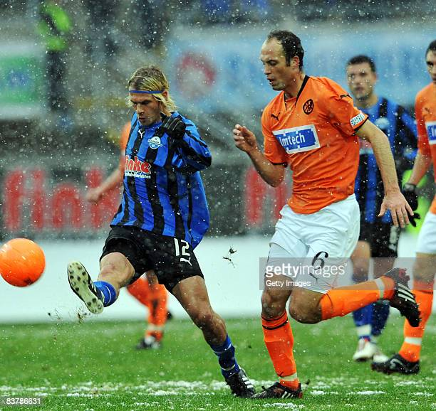 Soeren Brandy of Paderborn against Michael Stickel during the 3 Bundesliga match between SC Paderborn and VfR Aalen at the Paragon Arena on November...