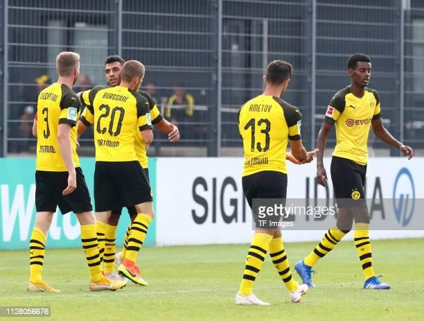 Soeren Dieckmann of Borussia Dortmund II Evangelos Pavlidis of Borussia Dortmund II Leon Burggraf of Borussia Dortmund II Beyhan Ametov of Borussia...
