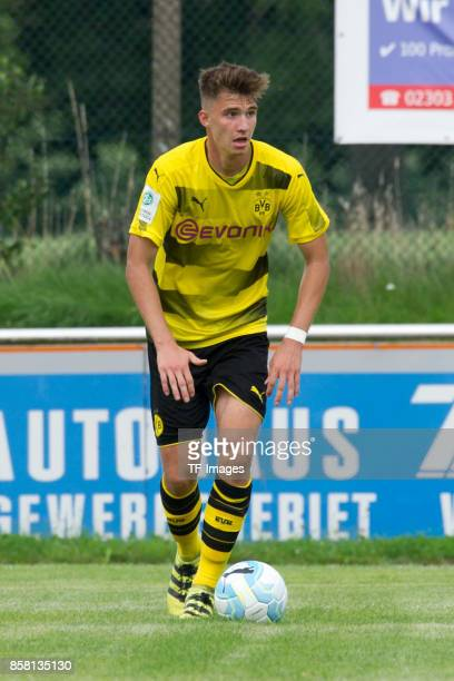 Soeren Lippert of Dortmund controls the ball during the EMKA RUHRCup International match between Borussia Dortmund U19 and AS Rom U19 at Stadion...