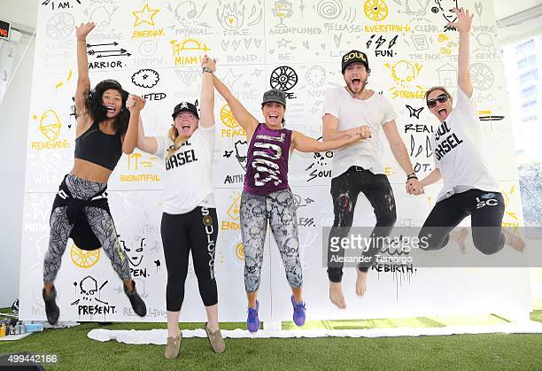 Soeuraya Wilson Julie Rice Laurie Cole Gregory Siff and Elizabeth Cutler are seen at the SoulCycle and artist Gregory Siff Art Meets SOUL Experience...