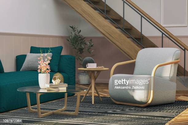 sofa and armchair - coffee table stock pictures, royalty-free photos & images