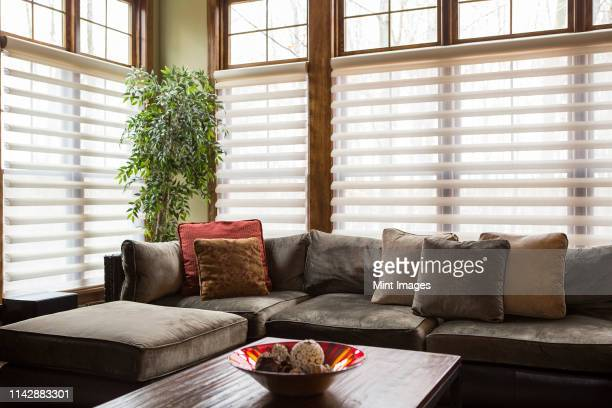 sofa and blinds in living room - jalousie stock-fotos und bilder