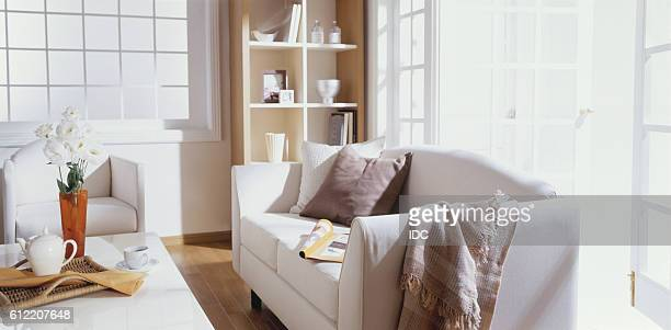 sofa and coffee table in sunny room - french doors stock pictures, royalty-free photos & images