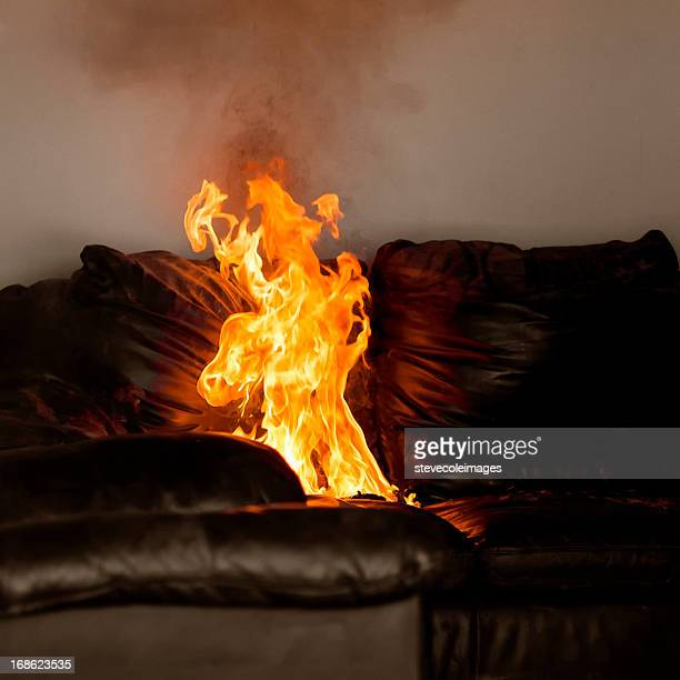 sofa fire - burning stock photos and pictures