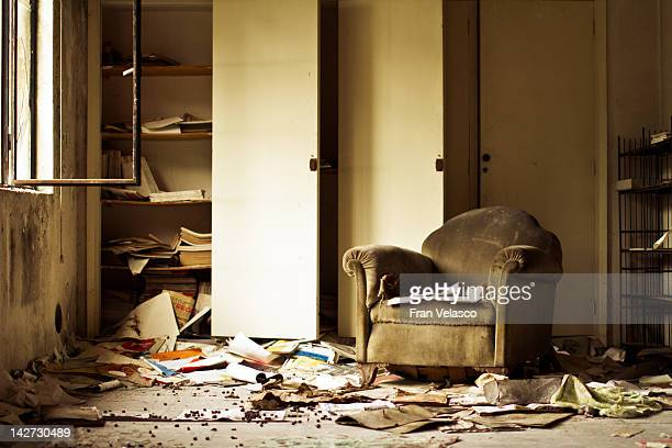 sofa in abandoned building - abandoned stock pictures, royalty-free photos & images