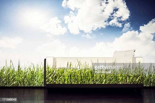ソファーの緑の芝生と空