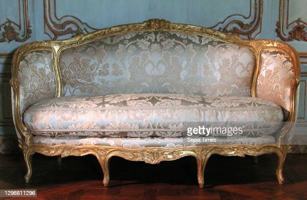 Sofa , Jean-Jacques Pothier , ca. 1765, French, Carved and gilded beech, modern silk lampas, H. 41 x W. 76 x D. 31 in. , Woodwork-Furniture,...