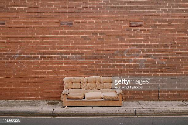 sofa on street - abandoned stock pictures, royalty-free photos & images