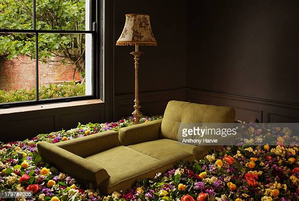 Sofa surrounded by flowers