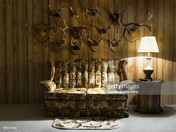 sofa with lamp and antlers - two seater sofa stock pictures, royalty-free photos & images