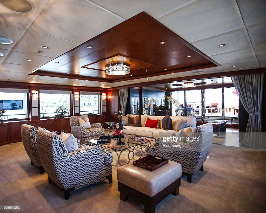 Sofas And Furniture Sit Inside The Main Salon Aboard 193 Feet Long Superyacht Skyfall During