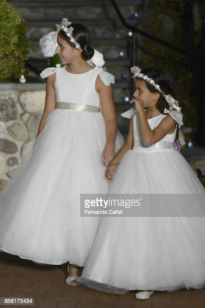 Sofia And Isabella Sarraf walk at Po de Arroz Runway at New York Fashion Week Bridal October 2017 at Hendrick's Tavern on October 5 2017 in Roslyn...