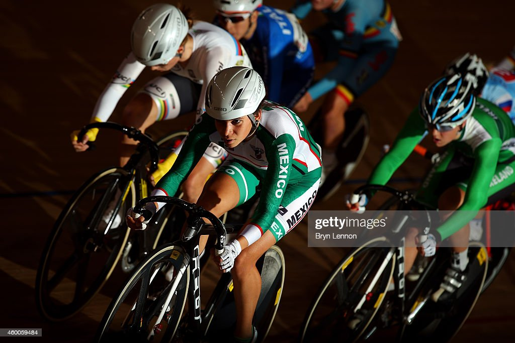 Sofia Arreola Navarro of Mexico leads the field during the Women's Points Race on day two of the UCI Track Cycling World Cup at the Lee Valley Velopark Velodrome on December 6, 2014 in London, England.