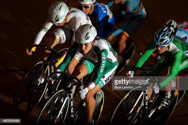 Sofia Arreola Navarro of Mexico leads the field during the Women's Points Race on day two of the UCI Track Cycling World Cup at the Lee Valley...