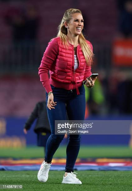 Sofia Balbi during the celebration of La Liga after the victory of the La Liga match between FC Barcelona and Levante UD at Camp Nou on April 27 2019...