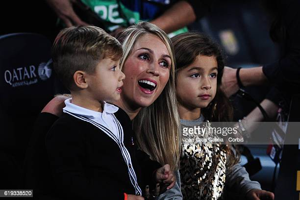 Sofia Balbi the wife of Luis Suárez attends the Spanish League match between FC Barcelona vs Granada CF with his children at Camp Nou Stadium on...