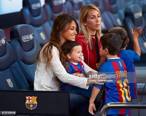 Sofia Balbi wife of Luis Suarez and Antonella Roccuzzo wife of Lionel Messi prior the La Liga match between FC Barcelona and Villarreal CF at Camp...