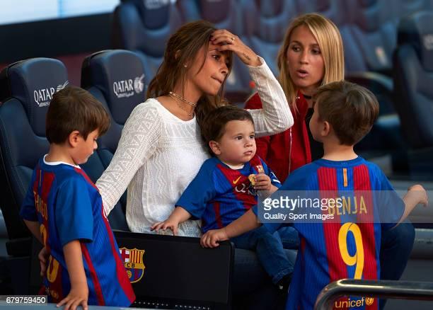 Sofia Balbi wife of Luis Suarez and Antonella Roccuzzo wife of Lionel Messi prior the La Liga match between FC Barcelona and Villarreal CF at Camp...