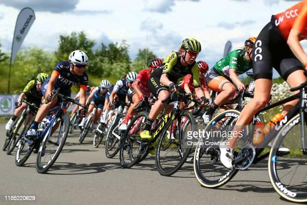 Sofia Bertizzolo of Italy and Team VIRTU Cycling / Jessica Allen of Australia and Team Mitchelton - SCOTT / Jolien D'Hoore of Belgium and Team Boels...