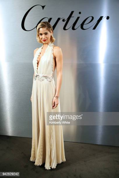 Sofia Boutella attends Cartier celebration of the launch of Santos de Cartier Watch at Pier 48 on April 5 2018 in San Francisco California