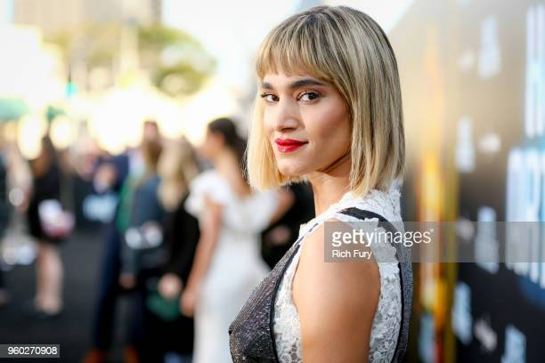 """Sofia Boutella attends Global Road Entertainment's """"Hotel Artemis"""" premiere at Regency Village Theatre on May 19, 2018 in Westwood, California."""