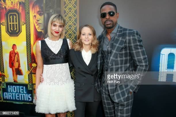 Sofia Boutella Jodie Foster and Sterling K Brown attend Global Road Entertainment's 'Hotel Artemis' premiere at Regency Village Theatre on May 19...