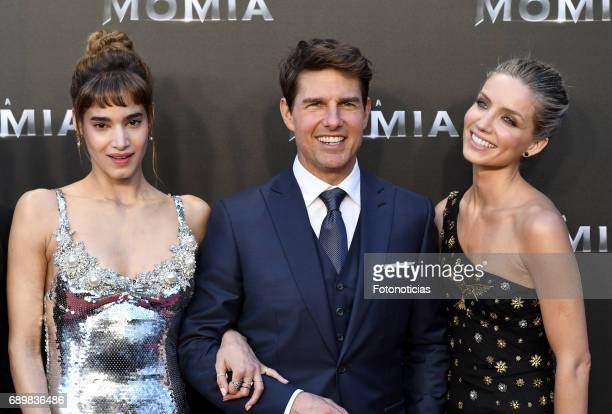 Sofia Boutella Tom Cruise and Annabelle Wallis attend 'The Mummy' premiere at Callao cinema on May 29 2017 in Madrid Spain