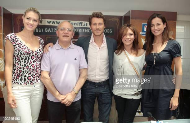 Sofia Bruscoli, Claudio Gubitosi, Gabriele Greco, Camilla Ferranti and Michela Coppa attend the Giffoni Film Festival 2010 press conference at...