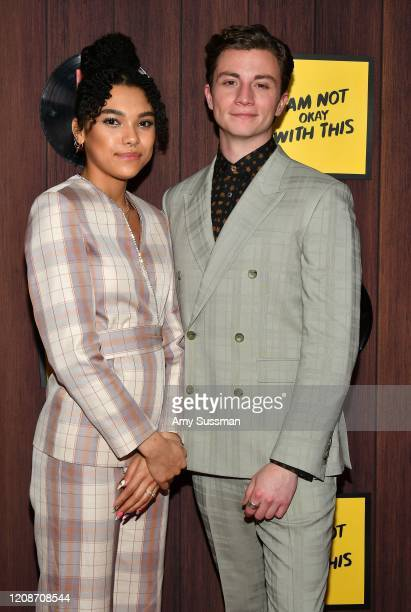 Sofia Bryant and Richard Ellis attend Netflix's I Am Not Okay With This Photocall at The London West Hollywood on February 25 2020 in West Hollywood...