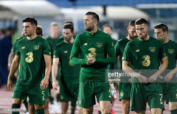 Sofia , Bulgaria - 3 September 2020; Republic of Ireland players John Egan, Shane Duffy and Matt Doherty prior to the UEFA Nations League B match...