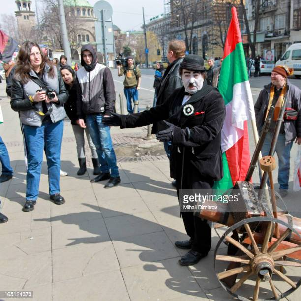 """Sofia, Bulgaria, a protest march through the city centure of a bulgarian patriotic party VMRO and a citizen movement """"Eagle's Bridge"""" against the..."""