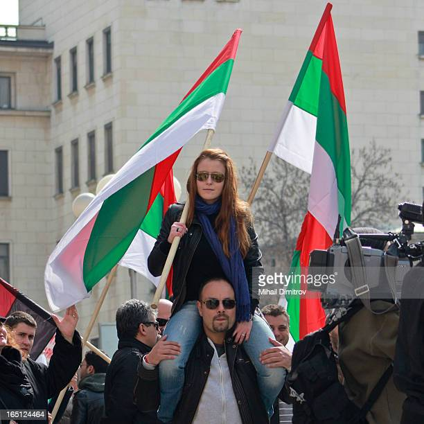 Sofia, Bulgaria, a protest march through the city centure with turned upside down national flag of a bulgarian patriotic party VMRO