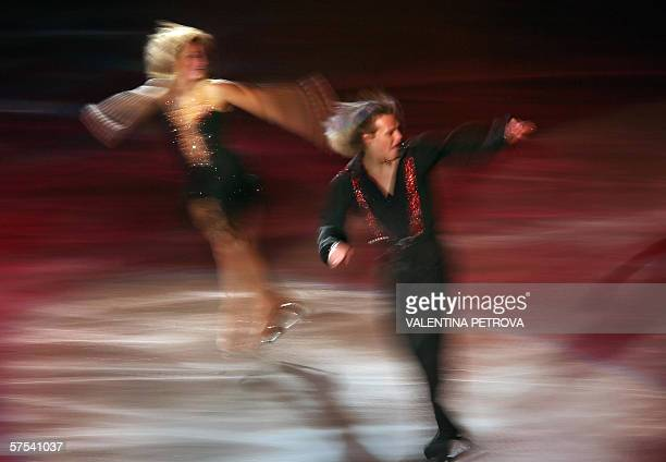 Bulgarian ice dance gold medalist Albena Denkova and Maxim Staviski perform during the ice show Starry Night at the Winter Palace in Sofia 05 May...