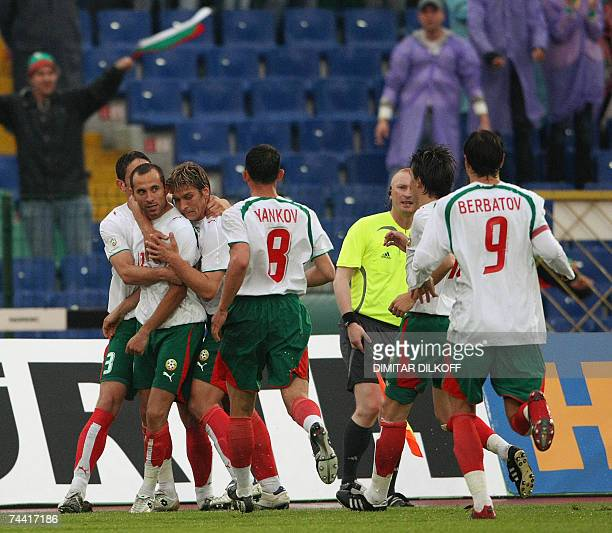 Bulgaria's Martin Petrov celebrates his goal against Belarus during their Euro 2008 Group G qualifying football match in Sofia 06 June 2007 AFP PHOTO...