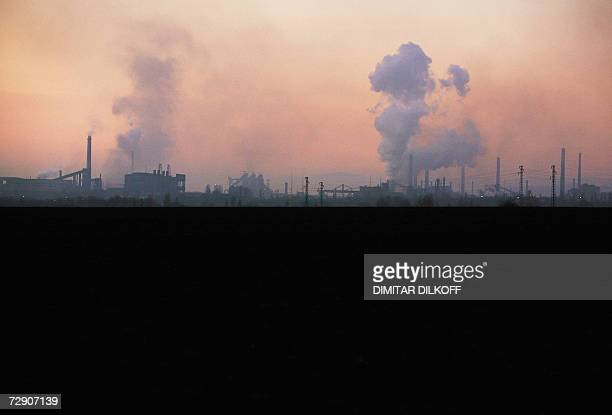 Chimneys of the largest metalurgy plant in Bulgaria a former symbol of communistera Kremikovtzi are seen smoking on sunset near the capital Sofia 30...