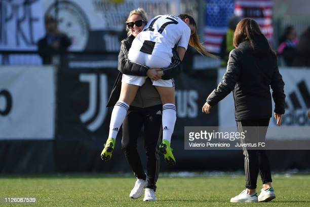 Sofia Cantore of Juventus Women celebrates victory with team mate Martina Rosucci at the end of the Women Coppa Italia match between Juventus Women...