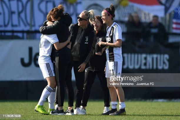 Sofia Cantore of Juventus Women celebrates victory with team mates Cristiana Girelli, Martina Rosucci and Barbara Bonansea at the end of the Women...