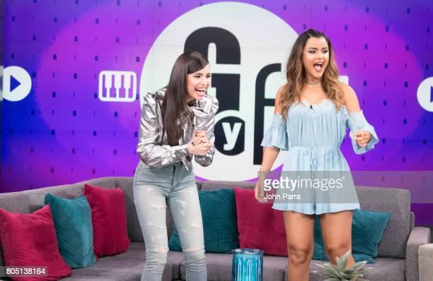Sofia Carson and Clarissa Molina are seen at Univision's 'El Gordo Y La Flaca' to promote her film Descendants 2 at Univision Studios on June 30 2017...