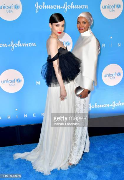 Sofia Carson and Halima Aden at the 15th Annual UNICEF Snowflake Ball 2019 at 60 Wall Street Atrium on December 03 2019 in New York City