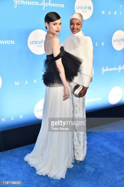 Sofia Carson and Halima Aden attend the 15th Annual UNICEF Snowflake Ball at Cipriani Wall Street on December 03 2019 in New York City