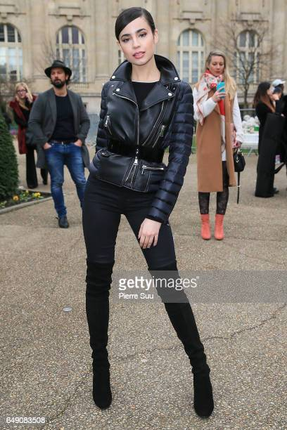 Sofia Carson arrives at the Moncler Gamme Rouge show as part of the Paris Fashion Week Womenswear Fall/Winter 2017/2018 on March 7 2017 in Paris...