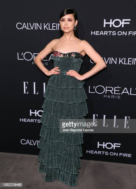 Sofia Carson attends the 25th Annual ELLE Women in Hollywood Celebration at Four Seasons Hotel Los Angeles at Beverly Hills on October 15 2018 in Los...